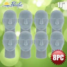 Male STYROFOAM FOAM grey velvet like MANNEQUIN head display wig hat glasses 8pc