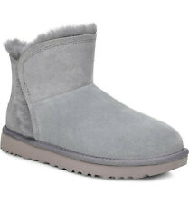 UGG Women's Classic Mini Fluff HIGH-Low Fashion Boots gray geyser suede size 6