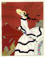 1930s French Pochoir Print Edouard Halouze Art Deco European Fashion in Japan