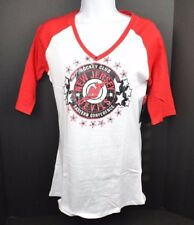 NHL NEW JERSEY DEVILS Women's Slub V-Neck Raglan Tee T-shirt Small 4/6