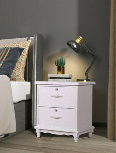 Solid Wood White Locking Nightstand Wood End Side Table Bedroom W/ 2 Drawers