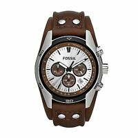 New Fossil Men's Coachman CH2565 Cuff Chronograph Tan Leather Quartz Watch NWT