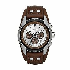 New Fossil Men's Coachman CH2565 Cuff Chronograph Tan Leather Quartz Watch NWT