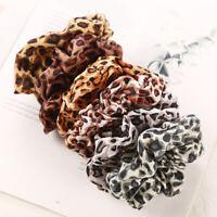 Leopard Print Ponytail Hair Scrunchies Chiffon Elastic Hair Bands Tie Rope Women