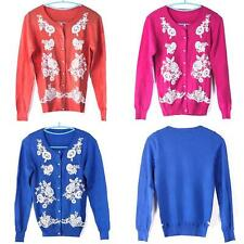 New Women Solid Color Long-Sleeved Cardigan Embroidered Pearl Clasp Blouse