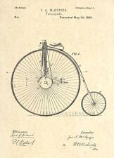 Official 1881 Big Wheel Bicycle Patent Art Print - Penny Farthing Velocipede- 50