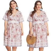 Plus Size Women Boho Floral V Neck Dresses Summer Casual Short Sleeve Midi Dress