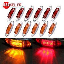 12PCS Amber&Red Side Marker Lights Clearance Lamp Trailer 3LED 12V Waterproof US