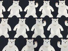 RPF18D RARE Happy Polar Bear Japanese Sevenberry  Retro Cotton Quilt Fabric