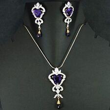 18k Gold Natural Top Amethyst Diamond Jewelry Set Chain Pendant Earrings set $