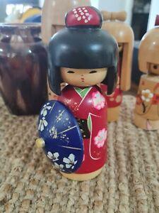 Kokeshi  Wood Japanese Doll Handpainted Retro Vintage  #4
