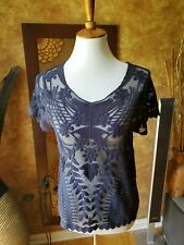 Express Nylon Cotton Navy Short Sleeve Embroidered Lace Top, M