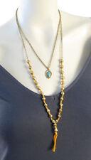Lucky Brand 'Salton Sea' Double Layer Turquoise Charm  Orange Necklace $39 CELEB