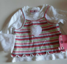 NEW WHO DO YOU HEART GIRL LONG SLEEVE SIZE 12MONTHS STRIPED HEART EMBELISH TOP