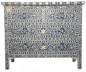 Chest of 4 drawers mother of pearl inlay Floral Design in Dark Blue Color furnit