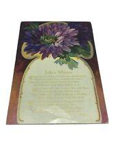 "Antique Poem Postcard ""Life's Mirror� By Madeline Bridges Posted 1910"