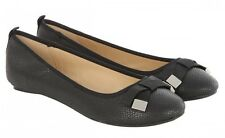 Jane Norman Black Bow Detail Round Flat Shoe Black size 6 rrp£25 - New in Box