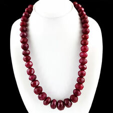 806.50 CTS EARTH MINED RICH RED RUBY ROUND FACETED BEADS NECKLACE - ON SALE