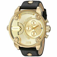 New NWT Diesel Men's Little Daddy Black Gold Leather Strap Watch 51x61mm DZ7363