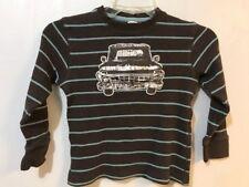 Gymboree Boys 5 Shirt Fall Fishin' Brown Long Sleeve Applique Truck Waffle Weave