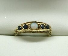 1970's Vintage Very Nice 9 Carat Gold Opal And Sapphire Gypsy Ring Size K.1/2