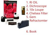 Dichroscope,Chelsea Filter,Jewelers Loupe,Gem Refractometer, RI Oil, Book, 6 Kit