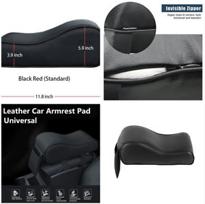 Portable Black PU Leather Car Center Armrest Heighten Pad Cushion Storage Bag