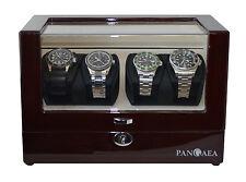 Pangaea Q350 Quad Four Watch Winder LED Lights Lock & Key Japanese Mabuchi Motor