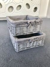 2x Grey Wicker Storage Baskets Stackable Lining Bathroom Cosmetics Makeup Chic