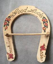Vintage SOUVENIR Tie Jewelry Hook Rack WENATCHEE WA Horseshoe Pyrography 1930's