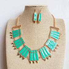 Gold Plated Geometric spike Turquoise pendant Enamel Necklace Earrings Set