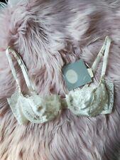 *Nwt* Vintage Christian Dior Bra - Ivory Lace/Satin Balconette Bra 34C - 4775