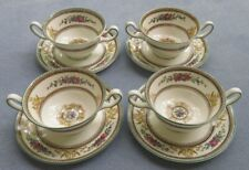 4 Sets Wedgwood Columbia Multi Color Cream Soup Bowls w Under Plates Black Mark