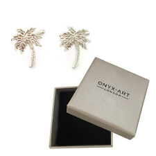 New Pair Of Silver Tropical Palm Trees Cufflinks & Gift Box by Onyx Art
