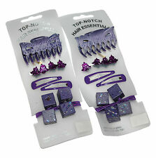 TOP NOTCH 2 x Purple Hair Sets 1 Grip 2 Clips 2 Dice Bobbles 4 Small Clips