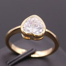 Heart Crystal 18K Gold Plated Women Lady Wedding Engagement Ring Jewelry Size 7
