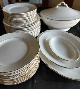 servizio antico piatti porcellana oro s.c.i Laveno  x 12 persone + piatti potata