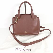 AIGNER Damen Handtasche Tasche Henkel Braun Leder Leather Bag