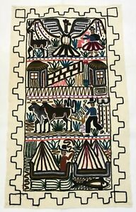 """Vintage Embroidered Aztec Mayan Inca Wall Hang Folk Art 21""""x 36"""" Woven Tapestry"""