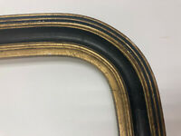 """Unusual Shape Antique Black and Gold Trim Picture Frame 21 x 13"""" #22"""