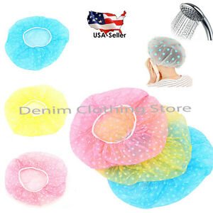 12 Pcs Women Assorted Waterproof Elastic Plastic Shower Bathing Salon Hair Caps