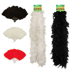 SHOW GIRL FEATHER FAN BOA 150 CM RED WHITE BLACK BURLESQUE HEN PARTY FANCY DRESS