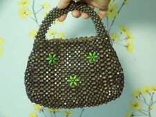 Vtg 1930s Czech Wooden Beaded Purse Bag 30s Small Handbag Antique Beaded Purse