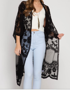 She & Sky Kimono Sleeve Crochet Lace Open Front Cardigan Black
