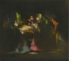 "Goldberg Avraham Signed Painting ""GOSSIP GIRLS"" Jewish Israel Paris Art Judaica"