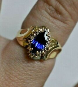 10k Yellow Gold 1.33ct Synthetic Sapphire & .004ct Diamond Ring Sz 7 $1,100