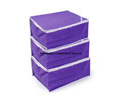 ( 3 PC)Purple Non Woven Cotton Clothes Sari Saree Garment Storage , cover Bags