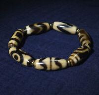 Old Tibetan Agate DZI Beads Daluo /'Water Wave/' GZI Bracelet Blessing
