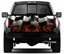Racing Flag Flaming Flag Truck Tailgate Vinyl Graphic Sticker Decal Wrap
