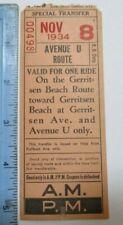 1934 Gerritsen Beach Route Brooklyn Bus Flatbush Av Transfer Ticket New York Nyc